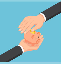 Isometric businessman hand protecting piggy bank vector