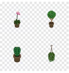 Isometric houseplant set of blossom grower vector