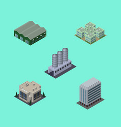 isometric urban set of warehouse water storage vector image