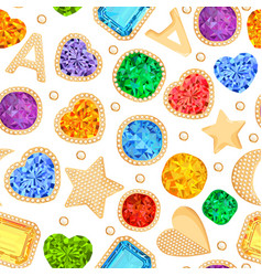 jewelry gemstones gold fashion seamless pattern vector image