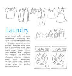 Laundry room with washing machine detergent vector