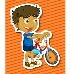 Little boy riding a bike vector image