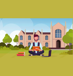 Male student sitting on grass at campus yard in vector