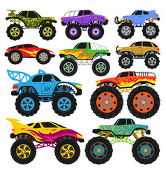 monster truck cartoon vehicle or car and vector image
