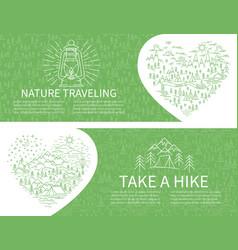 Nature travel horisontal banner vector