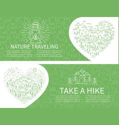 nature travel horizontal banner vector image