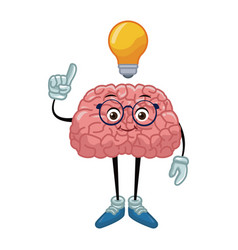 Nerd brain with idea cartoon vector