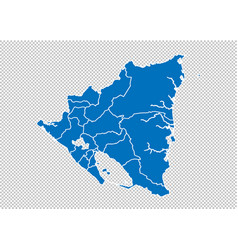 nicaragua map - high detailed blue map with vector image