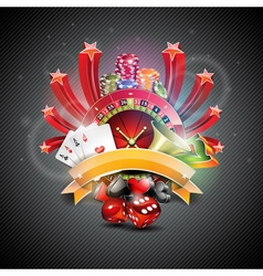 on a casino theme with roulette wheel vector image vector image