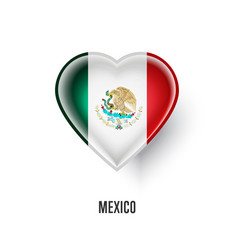 Patriotic heart symbol with mexico flag vector