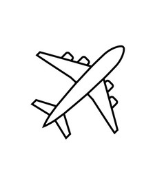 plane line icon airplane symbol in flat style vector image