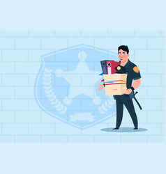 Policeman fired hold box with working staff vector