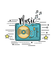 Radio to listen and play music vector