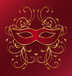 Red mask with golden ornament vector