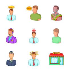 Responsible employee icons set cartoon style vector