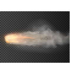 Rocket bullet trail smoke isolated on transparent vector