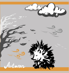 Sad hedgehog autumn vector