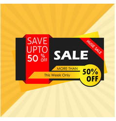 Sale save up to 50 huge sale more than this week vector