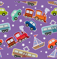 Seamless kids transport toys background vector