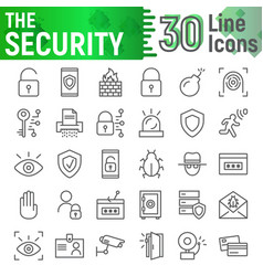 security line icon set protection symbols vector image