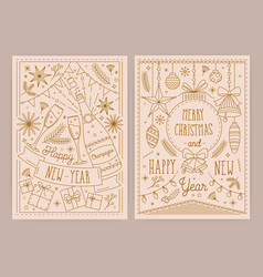 set christmas and new year greeting card vector image