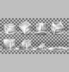 set cold solid ice cubes and melting vector image