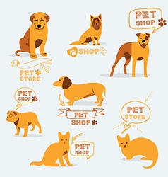 Set dog ans cats icon and labels pet shop vector