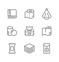 Set line icons towel and napkin vector