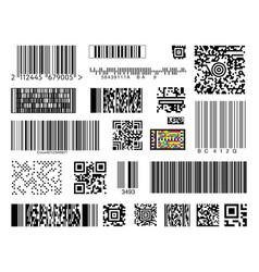 Set of bar codes on white background vector