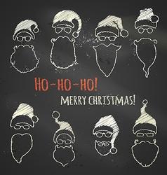 Set of chalk Santa hats and beards vector