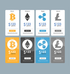 Set of offer tariffs for cryptocurrency operations vector
