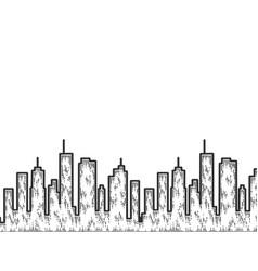 silhouette a big city sketch scratch board vector image