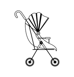 silhouette baby carriage with soft top vector image