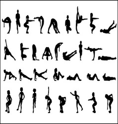 Silhouettes Exercise vector image