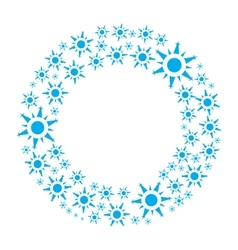 Snowflake wreath isolated vector