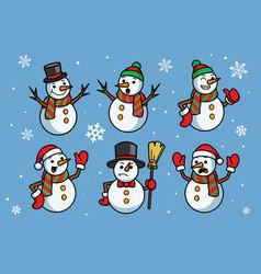 snowman cartoon set vector image