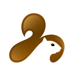squirrel head with tail and negative space vector image