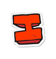 Sticker a cartoon letter i vector