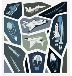 stickers aircraft in the sky and space with vector image