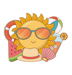 Summer time and travel cartoon vector
