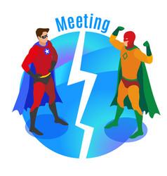 super heroes meeting isometric vector image
