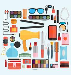 Tools for makeup flat design vector
