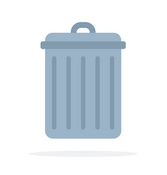 Trash can flat material design isolated object on vector