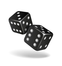 two black falling dice isolated on white vector image