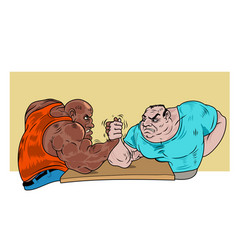 Two guys practicing arm wrestling vector