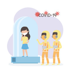 Virus covid 19 quarantine woman in quarantined vector