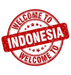 Welcome to indonesia red round vintage stamp vector