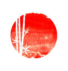 white silhouette bamboo plants on big red sun vector image