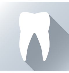 White tooth with long shadow effect vector