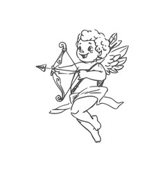 Winged boy cupid with arrow and bow vector